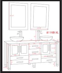 Cambridge  Inch White Glass Double Sink Bathroom Vanity Set - Height of bathroom vanity for vessel sink