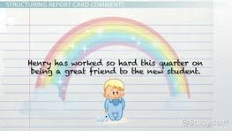 Report Card Comments Elementary Writing   report card ments cards     La Fondation Motrice