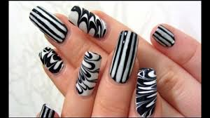 nail art in black and white easy nail designs ideas easy nail
