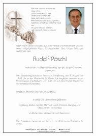 Verstorbene(r) Herr Rudolf Pöschl Trauerhilfe Bestattungs GesmbH - 33330