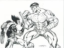 hulk and wolverine coloring pages lineart hulk vs