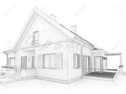 computer generated transparent house design visualization in computer generated transparent house design visualization in drawing style stock photo 16153195
