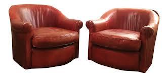 Club Swivel Chair Vintage Cognac Leather Club Swivel Chairs Pair Chairish