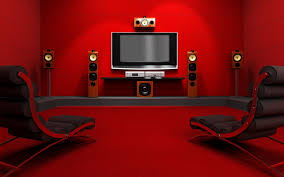 Decorative Home by Home Theatre With Luxury Design With Red Chairs And Artistic
