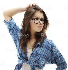 beautiful teen wearing glasses white background stock photo