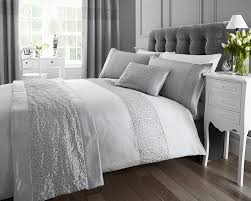 silver sequined double quilt duvet cover and 2 x pillowcase