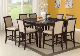 acme agatha 9pc black marble top counter height dining room set in