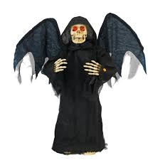 illuminated halloween decorations home accents holiday 36 in standing angel of death with led