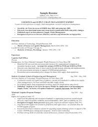 Sample Logistics Resume by Military Resume Example
