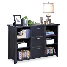 black color painted oak file cabinet with hutch and 3 drawer plus