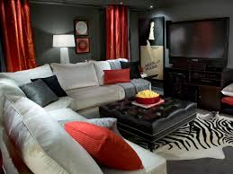 interior theater room wall decor displaying with white sofa and