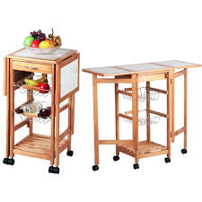 kitchen island trolley cart with wheel folding side tables