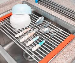 Stainless Steel Kitchen Sink Folding Roller Drainer Tray Roll Mat - Kitchen sink dish rack