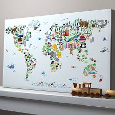 World Map Canvas by Animal World Map Print Colorful Animals Ivory And Animal