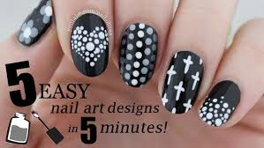 nail art five in easy black white nail art designs nailed it nz