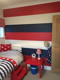 Red Bedroom by 4 Year Old Sons Sport Theme Bedroom Blue Walls With Orange And