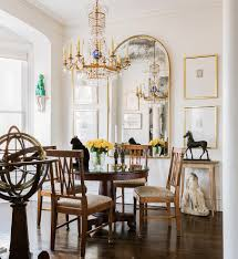 mirrored framed art dining room traditional with antiques