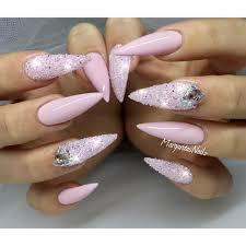 baby pink stiletto nails swarovski crystal pixie summer 2016 nail