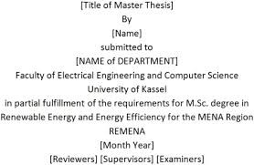 Example for the layout of the cover page  Master theses