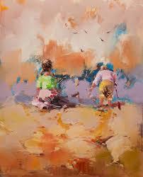 peinture de bord de mer image peinture les enfants de l u0027huile de paysage sur le bord