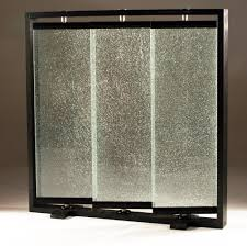 Room Dividers Cracked Glass Partians Triple Panel Crackled Glass Room