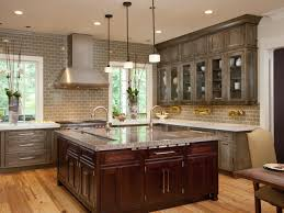 gray based painted cabinets that complement the cherry wood use