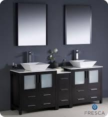 Fresca Torino  Espresso Modern Double Sink Bathroom Vanity With - Black bathroom vanity with vessel sink