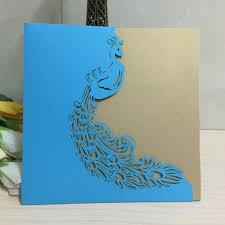 2015 new blue hollow peacock e1 laser cut wedding invitation cards