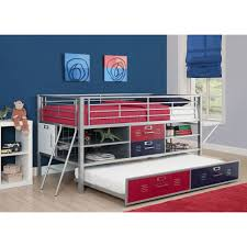 Loft Shelving by Trundle For Junior Shelf And Storage Loft Bed Red Blue Walmart Com
