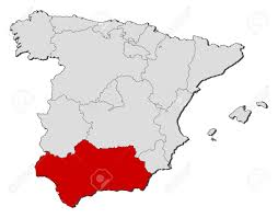 Spain Political Map by Political Map Of Spain With The Several Regions Where Andalusia