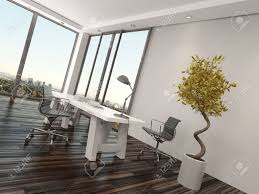 modern home office interior design with two office chairs on