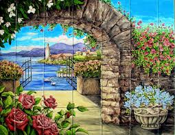 Kitchen Backsplash Mural Stone by Appealing Tile Murals Kitchen Backsplash Featuring Wine Picture
