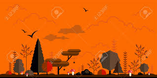 halloween forest flat background simple and cute landscape for