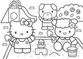hello kitty coloring pages of sand castle coloring pages