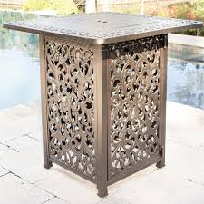 Patio Furniture Counter Height Table Sets - heritage 3 piece cast aluminum patio counter height fire pit bar