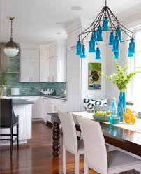 Blue Backsplash Kitchen Amazing Bright Blue Backsplash Kitchen Contemporary With Mosaic