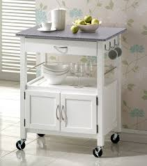 york white painted hevea hardwood kitchen trolley island with grey