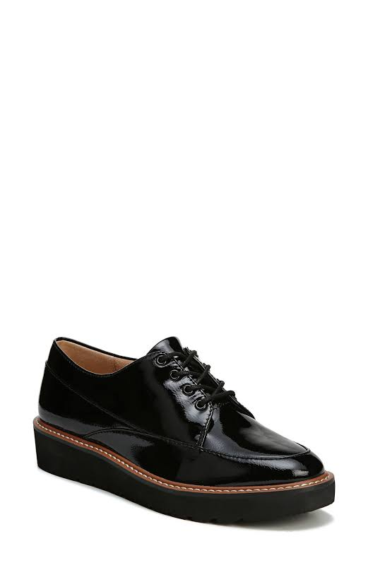 Naturalizer Auburn Leather Low Top Lace Up, Black Patent,