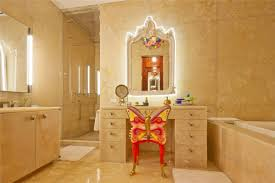 bathroom bathroom with dressing table plus mirror with light