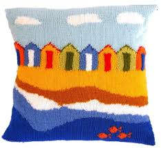 Knitted Cushions With Buttons Beach Huts Cushion Knitting Pattern By Iknitdesigns Knitting