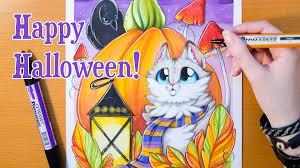 speed drawing cute kitten happy halloween youtube