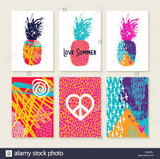 set of happy colorful summer greeting card designs with 80s style