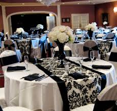 Black Blue And Silver Table Settings Dramatic Black And White Wedding Reception I Like The Light Blue
