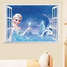 frozen bedroom wallpaper descargas mundiales com movie false window wall sticker 3d view princess elsa snow mural girls kids bedroom decorations