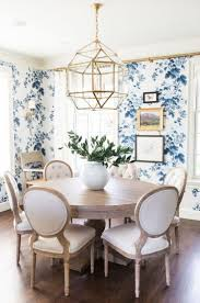 wallpaper focal wall white printed floral dining room tablecloth
