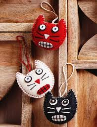 halloween cat ornaments in felt nova68 com