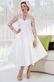 tea length wedding dress v neck fat wedding dresses with