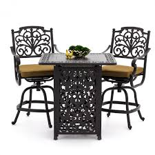 Patio Furniture Counter Height Table Sets - evangeline 3 piece cast aluminum patio counter height bar set w