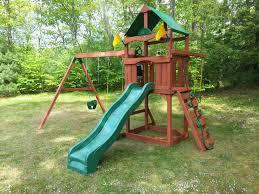 Cedar Playsets Furniture Wonderful Swing Set By Gorilla Playsets Plus Green