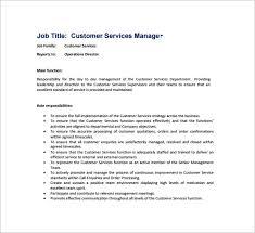 Customer Service Job Description Templates       Free Sample     Customer Service Manager Job Description Sample PDF Free Download